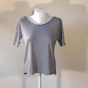 Stripped Cropped T shirt lace back detail